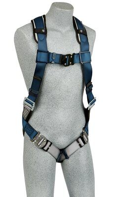 Back D-ring, quick connect buckle leg straps, built-in comfort padding (size Small). front