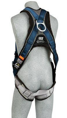 Back D-ring, quick connect buckle leg straps, built-in comfort padding (size Small). back