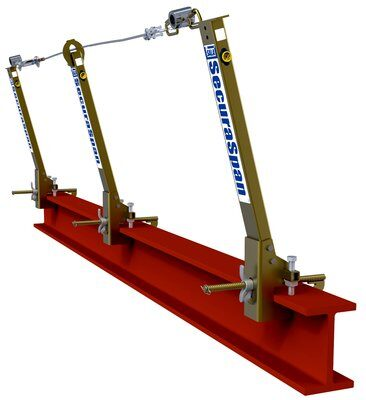 cable horizontal lifeline system for I-beams, fits 6 in. to 12 in. wide (15.2-30.5 cm) up to 2-1/4 in thick (5.7 cm) I-beam flanges, includes two stanchions and lifeline assembly.