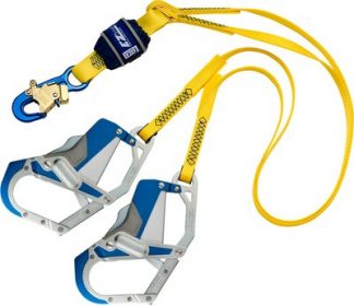 3M™ DBI-SALA® EZ-Stop™ 100% Tie-Off Shock Absorbing Lanyard 1246410, Yellow, 1 EA 3M Product Number 1246410, 3M ID 70804440488 6 ft. (1.8m) web double-leg 100% tie-off with aluminum snap hook at center, aluminum Comfort Grip snap hooks at leg ends.