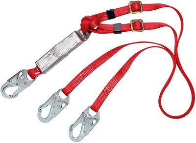 3M™ PROTECTA® PRO™ Pack Adjustable 100% Tie-Off Shock Absorbing Lanyard 1342250, 1 ea 3M Product Number 1342250, 3M ID 70007714028 -6 ft. (1.8m) adjustable web double-leg 100% tie-off with snap hooks at each end.