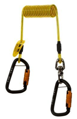 3M™ DBI-SALA® Hook2Hook Tether w/Swivel 1500159, 1 EA 3M Product Number 1500159, 3M ID 70804431230 - Tool tether, coil tether with swivel, 5 lb. (2.3 kg) capacity, single leg with self-locking carabiner hooks at both ends.