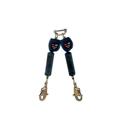 """3M™ DBI-SALA® Nano-Lok™ Twin-Leg Quick Connect Self Retracting Lifeline, Web 3101278 - 6 ft. (1.8m) twin-leg lifelines with 3/4"""" (19mm) Dyneema® fiber and polyester web and swiveling snap hooks, quick connector for harness mounting."""