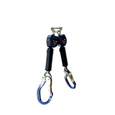"""3M™ DBI-SALA® Nano-Lok™ Twin-Leg Quick Connect Self Retracting Lifeline - Web 3101473, Blue, 6 ft. (1.8 m), 1 EA - 6 ft. (1.8m) twin-leg lifelines with 3/4"""" (19mm) Dyneema® fiber and polyester web and aluminum locking rebar hooks, quick connector for harness mounting."""