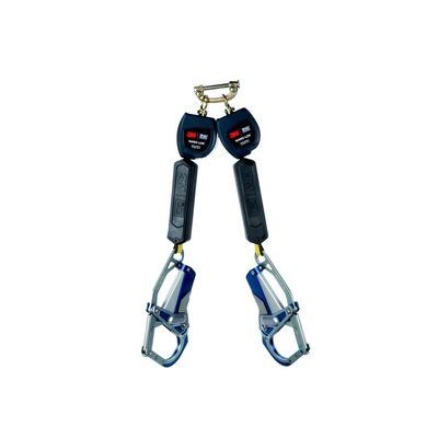 """3M™ DBI-SALA® Nano-Lok™ Personal Self Retracting Lifeline, Twin-leg, Web 3101663, 6 ft. (1.8m), 1 EA - 6 ft. (1.8m) twin-leg lifelines with 3/4"""" (19mm) Dyneema® fiber and polyester web and Comfort Grip hook on leg ends, speed connector for harness mounting."""