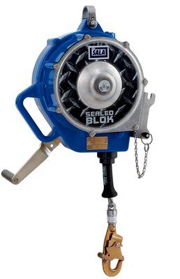 """3M™ DBI-SALA® Sealed-Blok™ Self Retracting Lifeline, Retrieval/Bracket, Cable 3400871, 85 ft. (25.5m), 1 EA - 85 ft. (25.5m) of 3/16"""" (5mm) galvanized steel wire rope with swivel snap hook, 3-way retrieval winch and mounting bracket, anchorage carabiner, 4 ft. (1.2m) cable tie-off adaptor."""