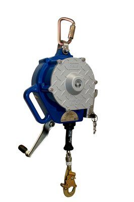 """3M™ DBI-SALA® Sealed-Blok™ Self Retracting Lifeline, Retrieval/Bracket, Cable 3400923, 50 ft. (15m), 1 EA - 50 ft. (15m) of 3/16"""" (5mm) galvanized steel wire rope with swivel snap hook, 3-way retrieval winch and mounting bracket, anchorage carabiner, 4 ft. (1.2m) cable tie-off adaptor."""