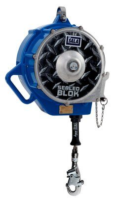 "3M™ DBI-SALA® Sealed-Blok™ Self Retracting Lifeline, Retrieval/Bracket, Cable 3400987, 130 ft. (39m) - 130 ft. (39m) of 3/16"" (5mm) stainless steel wire rope with swivel snap hook, 3-way retrieval winch and mounting bracket, anchorage carabiner, 4 ft. (1.2m) cable tie-off adaptor."