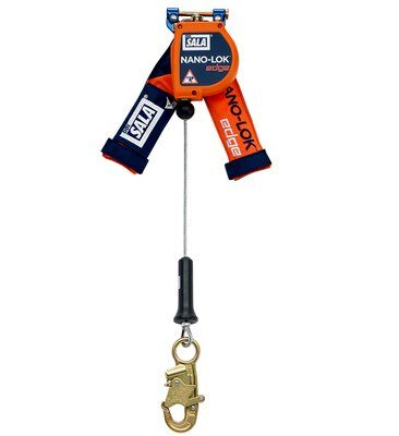 "3M™ DBI-SALA® Nano-Lok™ edge Quick Connect Self Retracting Lifeline - Cable 3500210, Orange, 8 ft. (2.4 m), 1 EA - 8 ft. (2.4m) lifeline with 3/16"" (5mm) galvanized steel wire rope and snap hook, quick connector for harness mounting."