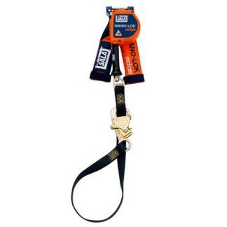 "3M™ DBI-SALA® Nano-Lok™ edge Tie-Back Quick Connect Self Retracting Lifeline - Cable 3500213, Orange, 9 ft. (2.7 m), 1 EA - 9 ft. (2.7m) tie-back lifeline with 3/16"" (5mm) galvanized steel wire rope and tie-back hook, quick connector for harness mounting."