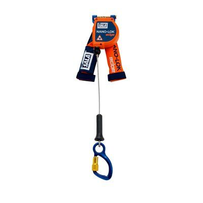 """3M™ DBI-SALA® Nano-Lok™ edge Quick Connect Self Retracting Lifeline - Cable 3500214, Orange, 8 ft. (2.4 m), 1 EA/Case - 8 ft. (2.4m) lifeline with 3/16"""" (5mm) galvanized steel wire rope and aluminum captive carabiner, quick connector for harness mounting."""