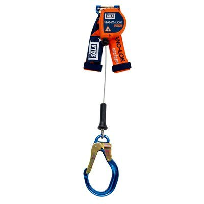 """3M™ DBI-SALA® Nano-Lok™ edge Quick Connect Self Retracting Lifeline - Cable 3500216, Orange, 8 ft. (2.4 m), 1 EA - 8 ft. (2.4m) lifeline with 3/16"""" (5mm) galvanized steel wire rope and aluminum rebar locking hook, quick connector for harness mounting."""
