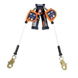 "3M™ DBI-SALA® Nano-Lok™ edge Twin-Leg Quick Connect Self Retracting Lifeline - Cable 3500225, Orange, 8 ft. (2.4 m), 1 EA - 8 ft. (2.4m) twin-leg lifelines with 3/16"" (5mm) galvanized steel wire rope and snap hooks, quick connector for harness mounting."