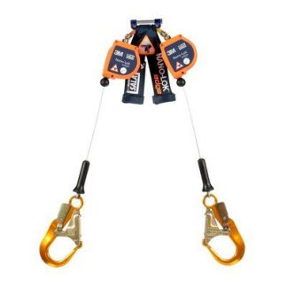 "3M™ DBI-SALA® Nano-Lok™ edge Twin-Leg Quick Connect Self Retracting Lifeline 3500249, Orange, 8 ft. (2.4 m), 1 EA - 8 ft. (2.4m) twin-leg lifelines with 3/16"" (5mm) galvanized steel wire rope and aluminum rebar hooks, quick connector for harness mounting."