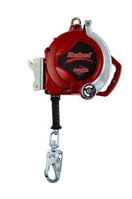"3M™ PROTECTA® Self Retracting Lifeline - Retrieval with Bracket 3591006, Red, 50 ft. (15.2 m), 1 EA - 50 ft. (15.2m) of 3/16"" (5mm) galvanized steel wire rope with 3-way emergency retrieval winch, mounting bracket, swiveling snap hook, aluminum housing and anchorage carabiner."