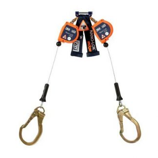 "3M™ DBI-SALA® Nano-Lok™ Edge Twin-Leg Quick Connect Self Retracting Lifeline, Cable 3500227, 1 EA - 8 ft. (2.4m) twin-leg lifelines with 3/16"" (5mm) galvanized steel wire rope and steel rebar locking hooks, quick connector for harness mounting."