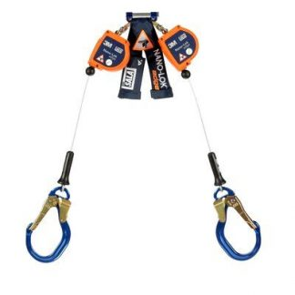 "3M™ DBI-SALA® Nano-Lok™ Edge Twin-Leg Quick Connect Self Retracting Lifeline, Cable 3500231, 8 ft. (2.4m) - 8 ft. (2.4m) twin-leg lifelines with 3/16"" (5mm) galvanized steel wire rope and aluminum rebar locking hooks, quick connector for harness mounting."