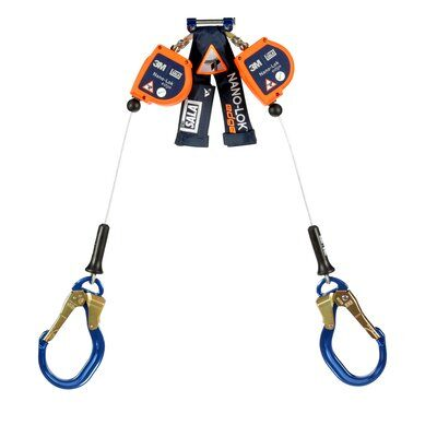 """3M™ DBI-SALA® Nano-Lok™ Edge Twin-Leg Quick Connect Self Retracting Lifeline, Cable 3500231, 8 ft. (2.4m) - 8 ft. (2.4m) twin-leg lifelines with 3/16"""" (5mm) galvanized steel wire rope and aluminum rebar locking hooks, quick connector for harness mounting."""