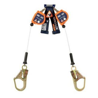 "3M™ DBI-SALA® Nano-Lok™ edge Twin-Leg Quick Connect Self Retracting Lifeline, Cable 3500246, 7.3 ft., 1 EA , - 7.3 ft. twin-leg lifelines with 3/16"" (5mm) galvanized steel wire rope and steel rebar hooks, quick connector for harness mounting."