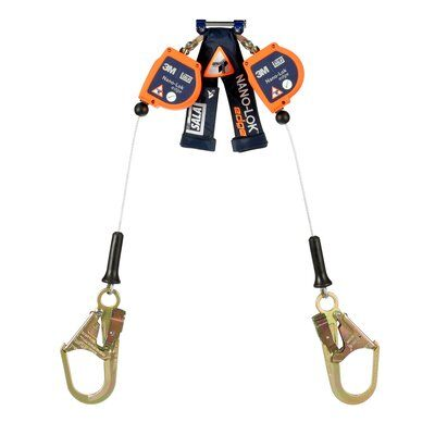 """3M™ DBI-SALA® Nano-Lok™ edge Twin-Leg Quick Connect Self Retracting Lifeline, Cable 3500246, 7.3 ft., 1 EA , - 7.3 ft. twin-leg lifelines with 3/16"""" (5mm) galvanized steel wire rope and steel rebar hooks, quick connector for harness mounting."""
