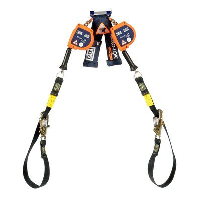 """3M™ DBI-SALA® Nano-Lok™ edge Twin-Leg Tie-Back Quick Connect Self Retracting Lifeline - Cable 3500228, Orange, 9 ft. (2.7 m), 1 EA - 9 ft. (2.7m) twin-leg tie-back lifelines with 3/16"""" (5mm) galvanized steel wire rope and tie-back hooks, quick connector for harness mounting."""