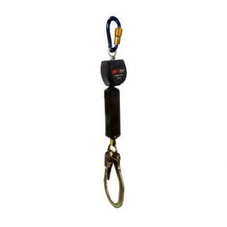 "3M™ DBI-SALA® Nano-Lok™ Self Retracting Lifeline with Anchor Hook, Single-leg, Web 3101469, 6 ft. (1.8m), 1 EA - 6 ft. (1.8m) of 3/4"" (19mm) Dyneema® fiber and polyester web and aluminum locking rebar hook on leg end, swiveling anchor loop with aluminum carabiner."