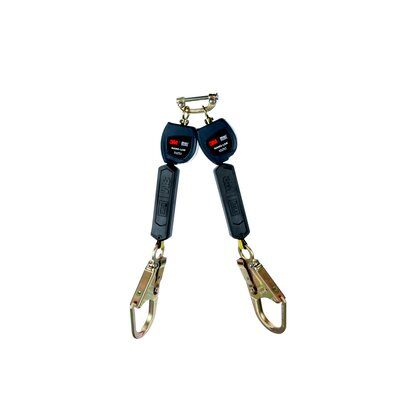 """3M™ DBI-SALA® Nano-Lok™ Twin-Leg Quick Connect Self Retracting Lifeline, Web 3101280 - 6 ft. (1.8m) twin-leg lifelines with 3/4"""" (19mm) Dyneema® fiber and polyester web and steel rebar hooks, quick connector for harness mounting."""