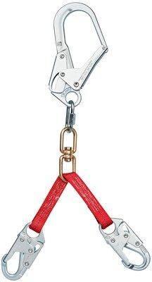 3M™ PROTECTA® PRO™ Web Rebar/Positioning Lanyard 1351001, 1 EA - 24 in. (60cm) web rebar assembly with swiveling steel rebar hook at center, snap hooks at leg ends.