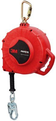 "3M™ Protecta® Self Retracting Lifeline 3590640, Cable, Aluminum Housing, Snap Hook, 85ft (26m) 85 ft. (25.9m) of 3/16"" (5mm) galvanized steel wire rope with swiveling snap hook, aluminum housing and anchorage carabiner."