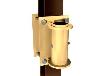 SecuraSpan™ bolt-on vertical base for fasten-in-place post horizontal lifeline systems (fasteners not included).