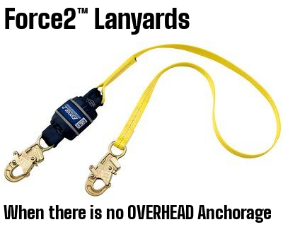 The Force2™ lanyard is ideal when there is no overhead anchorage and your only option is to tie-off at your feet. It can be used for up to a 12 ft. (3.7 m) free fall, or as a standard lanyard up to a 6 ft. (1.8 m) free fall for workers that require a capacity of 311 to 420 lbs. (141-190 kg). They feature our exclusive Hi-10™ Vectran™ energy management materials that provide second-to-none abrasion, cut and chemical resistance, and efficient shock absorption. ​Should a fall occur, the lanyard and its unique energy absorbing system will activate stopping the fall and reducing the forces imposed on the user to safe levels. Our patented self-locking snap hooks which are widely recognized in the industry for their user friendly operation and are preferred by safety professionals and workers alike.​