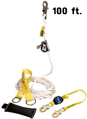 3M™ DBI-SALA® Lad-Saf™ Mobile Rope Grab Kit 5000401, 1 EA 3M Product Number 5000401, 3M ID 70007465860 - Mobile rope grab kit with rope grab, 3 ft. (0.9 m) shock absorbing lanyard, 100 ft. (30 m) rope lifeline, counterweight, tie-off adpator and carrying bag.