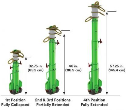 """Portable Fall Arrest System The system has 3 telescopic working heights ranging from 30.5"""" (127.8 cm), 43"""" (109.3 cm), all the way up to 54.5"""" (138.5 cm)."""