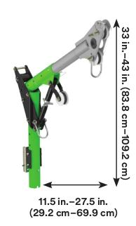 3M™ DBI-SALA® Confined Space Adjustable Offset Upper Davit Mast 8518001, 1 EA - 11-1/2 in. to 27-1/2 in. (29.2 to 69.8 cm) adjustable offset upper davit mast with 33 in. to 43 in. (83.8 to 109.2 cm) anchor point height.