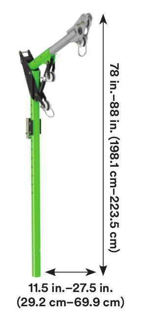 3M™ DBI-SALA® Confined Space One-Piece Adjustable Offset Davit Mast 8518383, 1 EA 3M Product Number 8518383, 3M ID 70007496436 - One-piece 11-1/2 in. to 27-1/2 in. (29.2 to 69.8 cm) adjustable offset davit mast with 78 in. to 88 in. (198.1 to 223.5 cm) anchor point height.