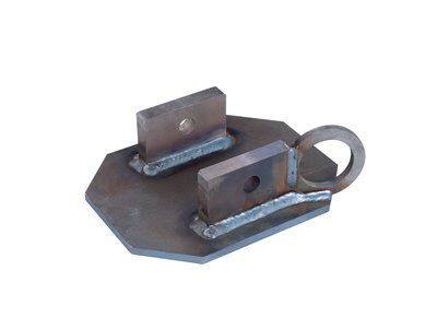 Bare steel uni-anchor with tie-off anchor for confined space portable fall arrest post.