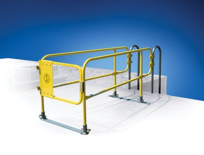 The Ladder Defender is a OSHA compliant and cost-effective controlled access and passive fall safety solution for permanent rooftop access ladders. It features a unique non-penetrating design, the Ladder Defender ensures safe egress / ingress to and from the rooftop. Proprietary connector brackets attach to three different styles of the ladder frame.