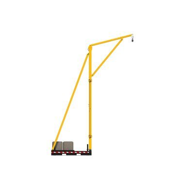 Counterweighted overhead rail fall protection system