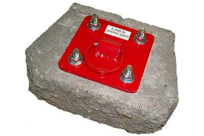 D-ring anchorage plate for concrete or steel with D-ring and four concrete insert bolts